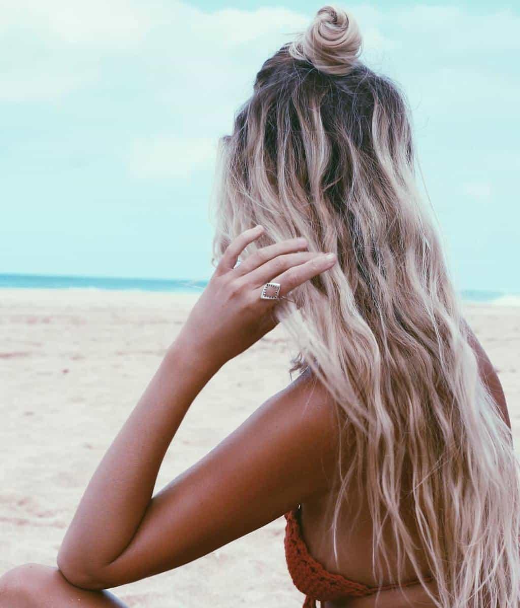 White Black Beach Waves Long Hair