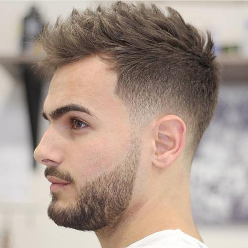 Low tapered crew cut for men