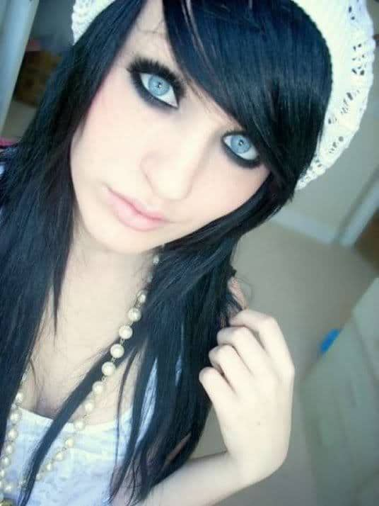 Beautiful emo girls with black hair necessary words