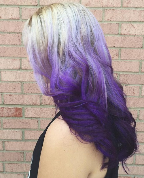 Blonde and purple Ombre Hair Color for women
