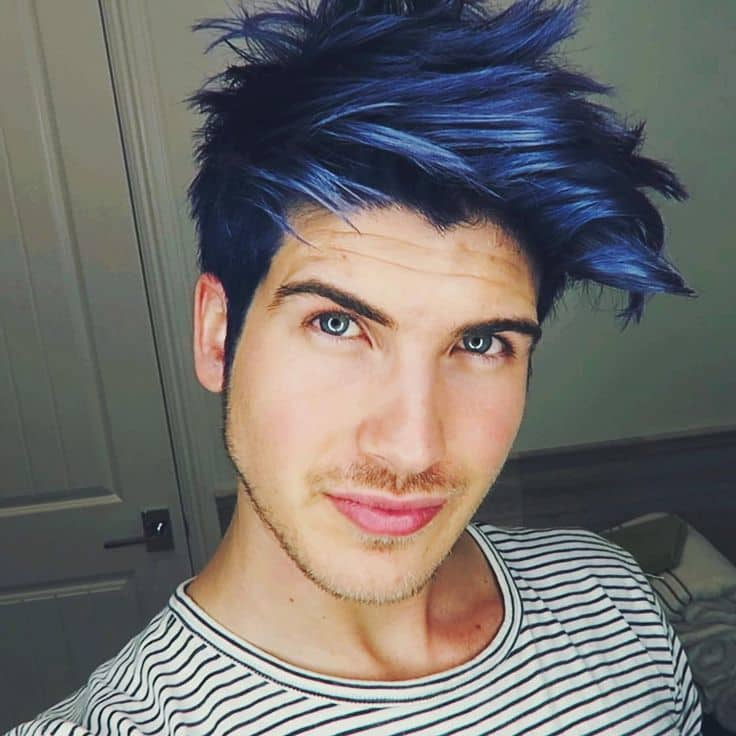 Metallic Blue Hair Color For Men