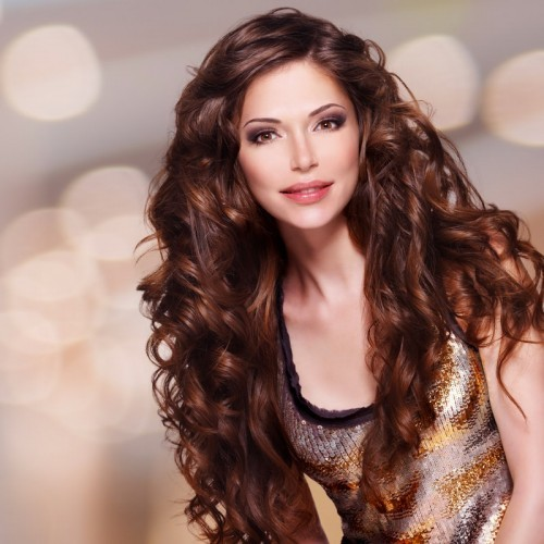 Long Length Curly Hairstyle with Brown Hair-min
