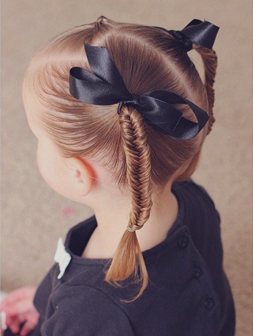Little Girl Back to School Braided Pigtails