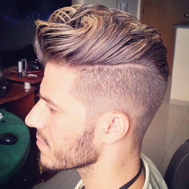 Blonde Pompadour Haircut With Highlights for Men