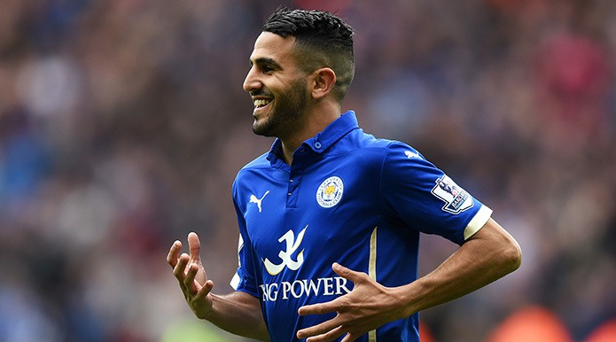 LEICESTER, ENGLAND - MAY 09: Riyad Mahrez of Leicester City celebrates scoring the second goal during the Barclays Premier League match between Leicester City and Southampton at The King Power Stadium on May 9, 2015 in Leicester, England. (Photo by Michael Regan/Getty Images)