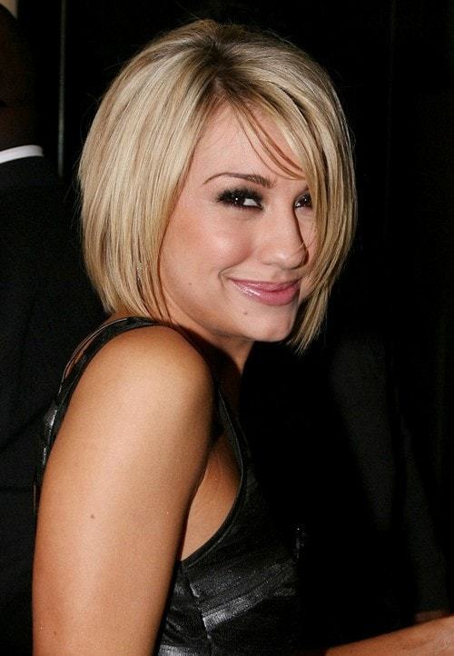 blonde chin length bob with bangs