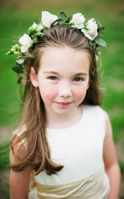 Flower Girl Hairstyles messy braided crown girls hairstyle 50 Cutest Flower Girl Hairstyles For Your Little Angel