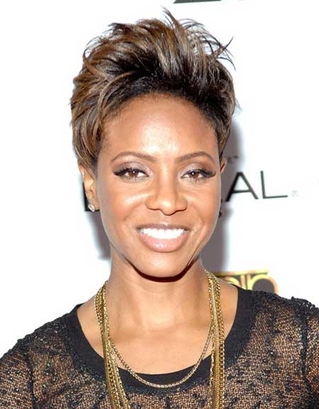 High comb over hairstyle for black girl