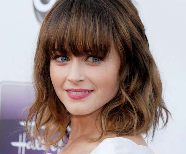 shoulder length with bangs
