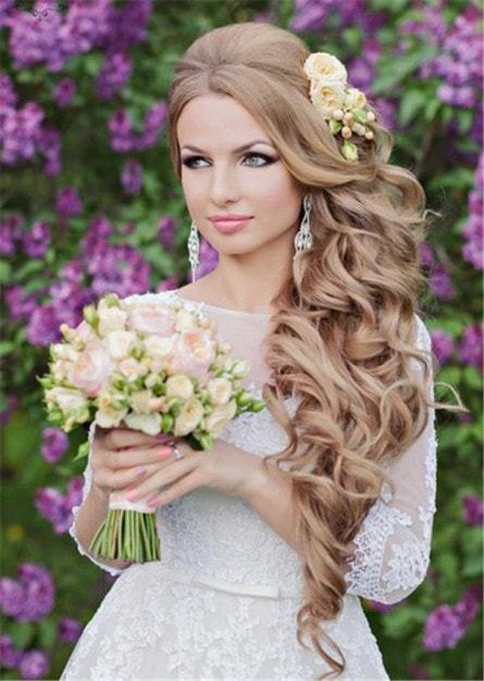 brown color wedding hair for long hair