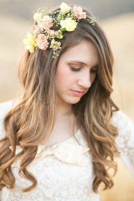 long wedding hairstyle with Real flower