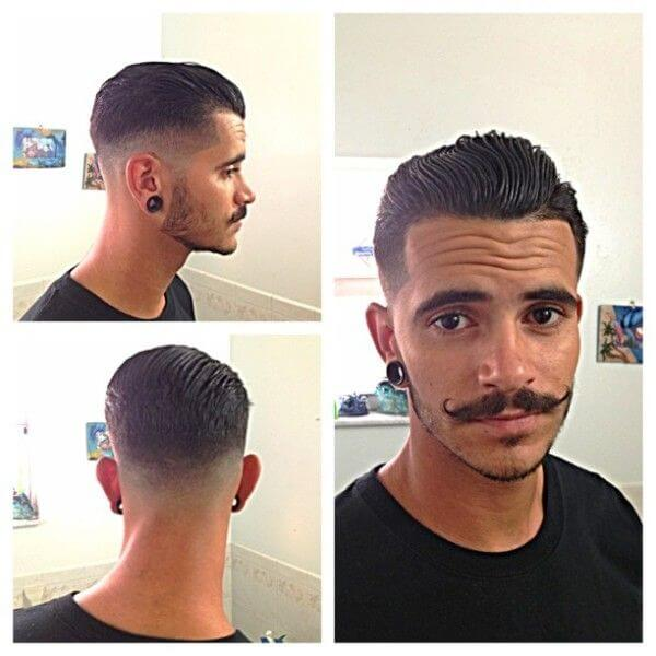 Greasy Taper Fade Rockabilly Hairstyle For Men