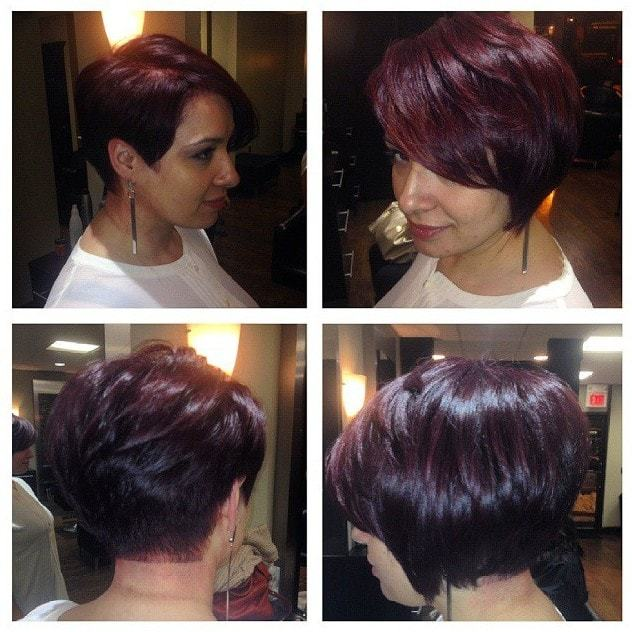 brown short stacked bob hairstyles
