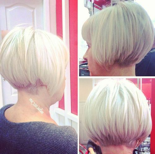 women Short stacked bob hair