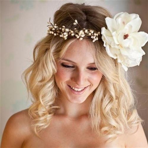 cute girl short hair wedding styles with Large flowers