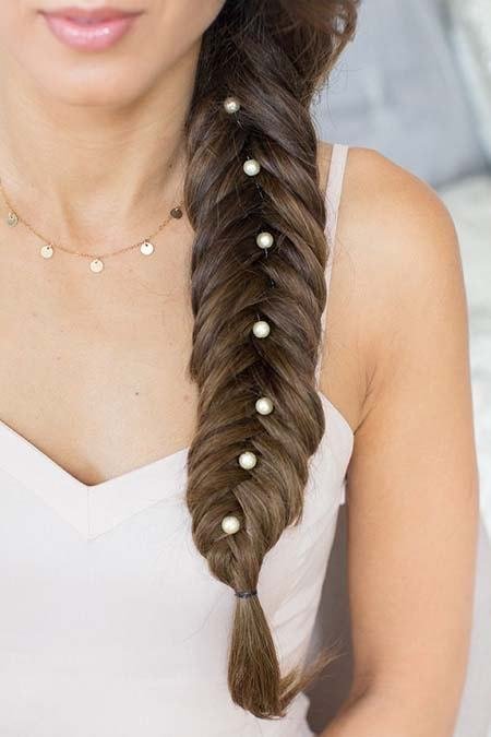 easy to do fishtail braid with jewelry