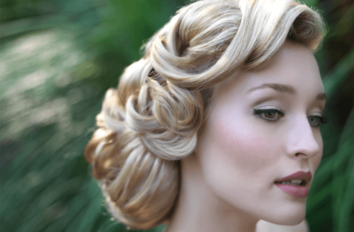 Low curly bun vintage wedding hairstyles for women