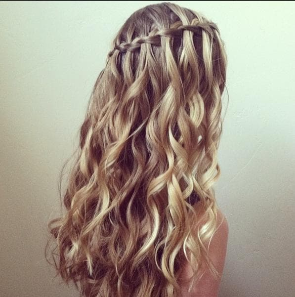 Curly Hairstyles With Braids On The Side Luxury Two Waterfall And A Normal French Braid