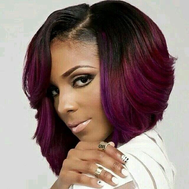 Purple Color Bob Marley Hair Weave For Women