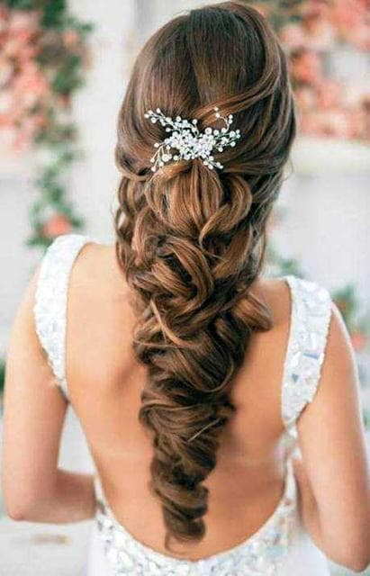 wedding hairstyles for Bride With long hair 16-min