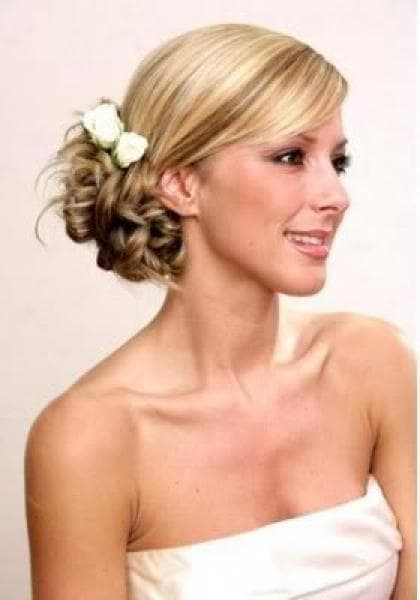 Braided bun wedding hairstyle
