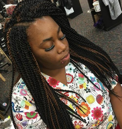 Highlights Sensational and Voluminous Senegalese Twist Hairstyle