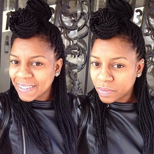 Double bun Senegalese twists hairstyles you love