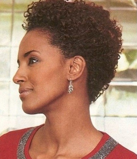very short black pixie natural curly hairstyle