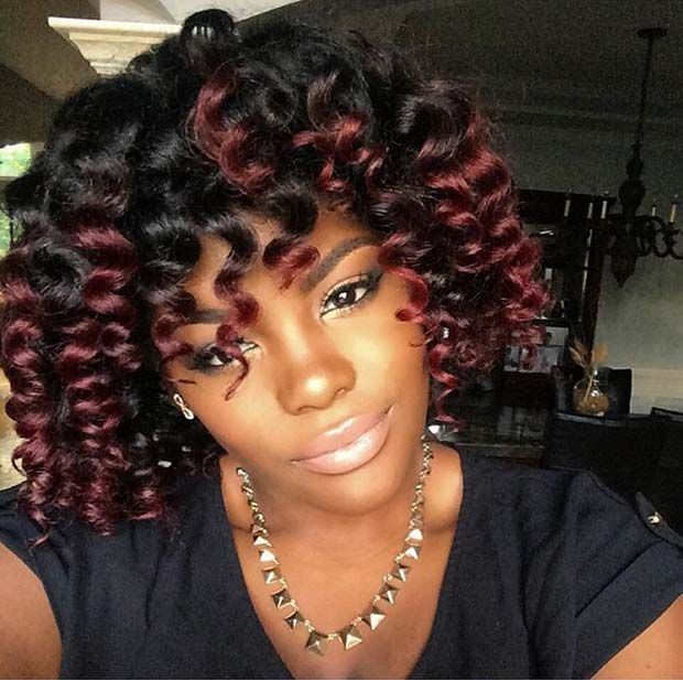 Short Highlighted bob with Curl Hairstyle for Afro-American Girls