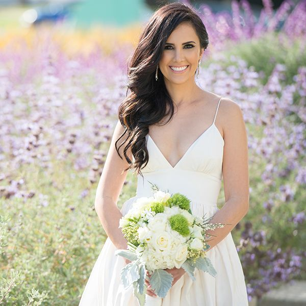 20 best hair down styles for brides hairstylecamp swept waves with wedding hair down style junglespirit Images
