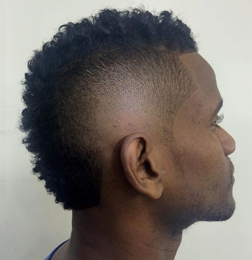 Black Men Short Classical Fohawk Hair