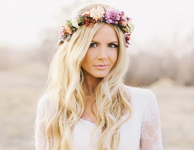 beautiful Floral wedding hair down