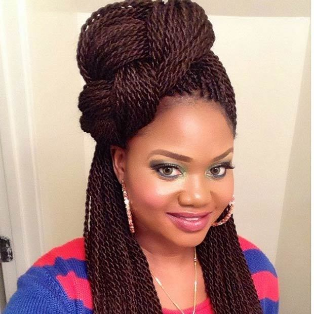 Voluminous Senegalese Twist hairstyle for girl