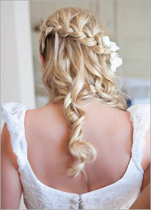 french braid half up half down for beautiful brides