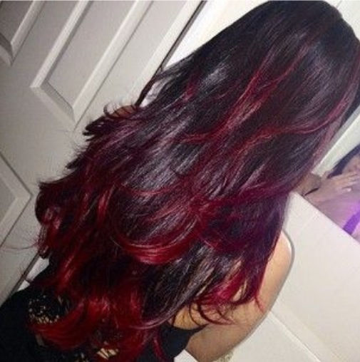 Nice Black Color With Red Highlights Haircut