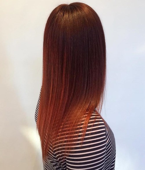 Redhead dark auburn hairstyle for young girl
