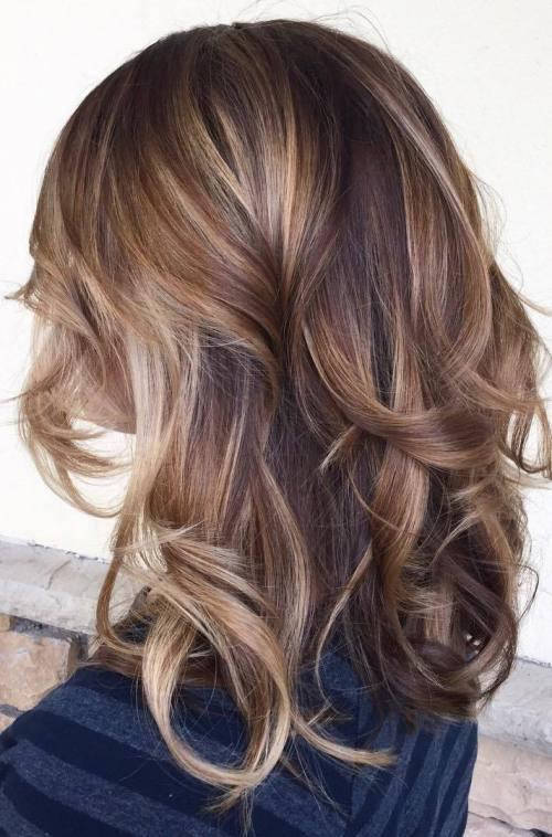 Purple balayage haircut for women