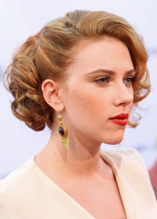 short Curled Updo hair with heart shaped faces