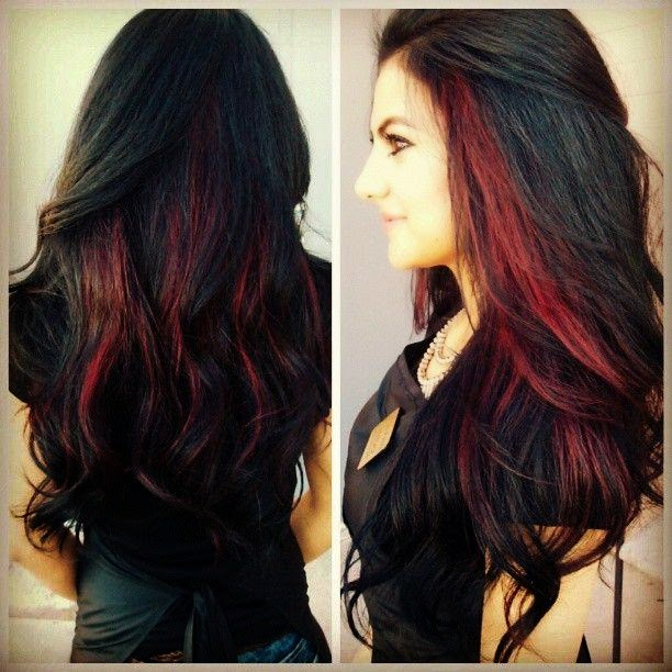 red highlights on black hair for young girl