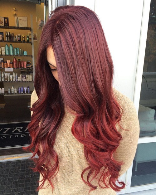 ombre styling looks fabulous whatever hair color you have but it is a great way to show off different shades of auburn hair with blonde highlights - Auburn Hair Color With Blonde Highlights