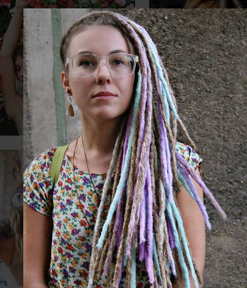 Rainbow dreadlocks haircut for young girl