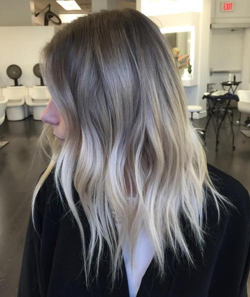 Women Grey And Blonde Balayage Ombre