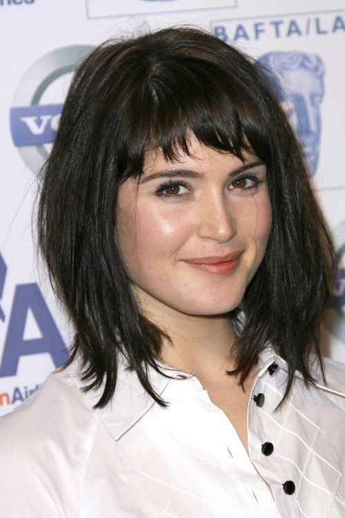 black hair Asymmetrical bangs style
