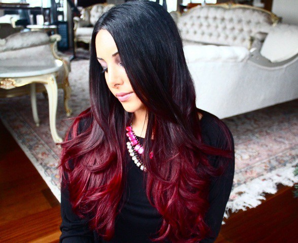 cool burgundy weave hairstyle for women