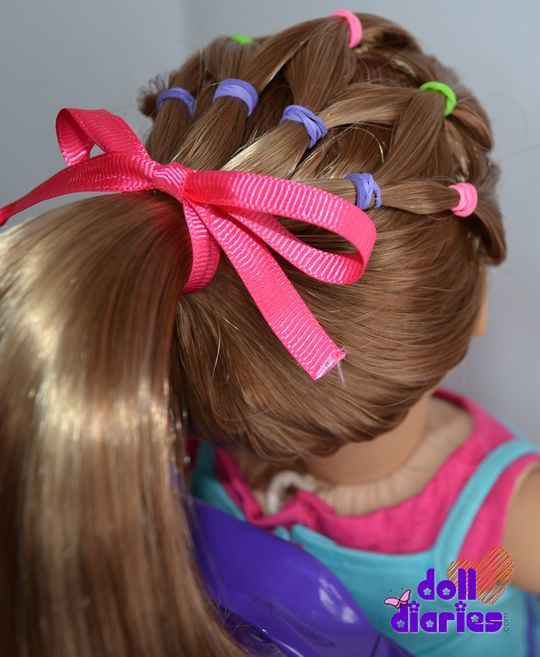 American Girl Doll Basket ponytail hairstyle for girl