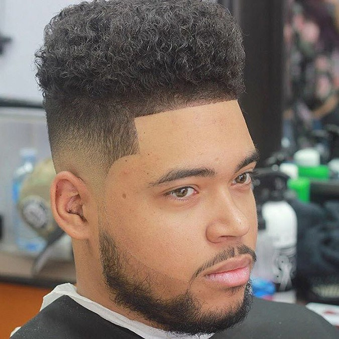 line up Boxy Cut hair for black men