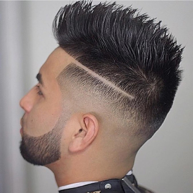 Spiked Pompadour with Tramlines for line up hair