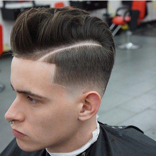 Line-Up Cut Pompadour Curls hairstyle