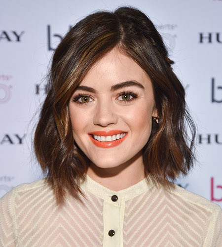 Asymmetrical bob haircut for Lucy Hale