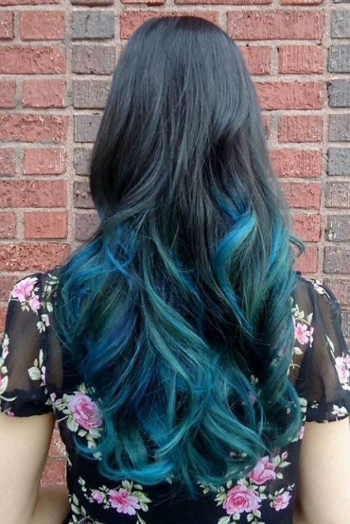 blue with Ombre Color for long hair